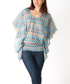 $16.99 Loving this Blue Zigzag Top - Plus on #zulily! #zulilyfinds