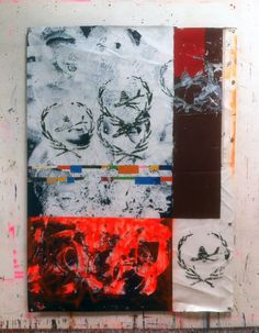 Hermann Josef Hack, STAMPS, 150507, painting and spray paint on tarpaulin, 223 x 162 cm, 2015
