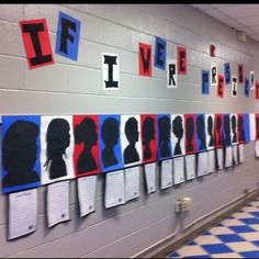 """President's Day or Election Day Bulletin Board Idea: If I Were President..."""" writing assignment Place final draft under the silhouettes of students."""