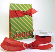2014 Holiday Catalog - Under the Tree designer paper JINGLE Christmas card with Cherry Cobbler linen ribbon #stampinup #pattystamps #jingle #holidaycatalog