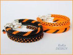 Bead Crochet Bracelet Knot Rope Black and by KuKaDesignJewelry