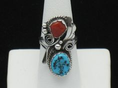 JUSTIN MORRIS Navajo Sterling Turquoise Coral Ring SZ 5.5