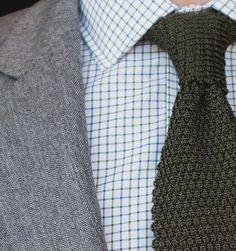 Indochino Herringbone suit with knit tie