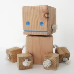 Block Bot a robot made from reclaimed wood by OhDierLiving on Etsy