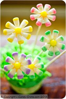Easter Candy Corn Flower Decorations. Cute for Cupcake toppers. LOVE THEM!