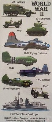WWII Stickers Military Scrapbooking World War 2 Tanks Jeeps Planes Ship