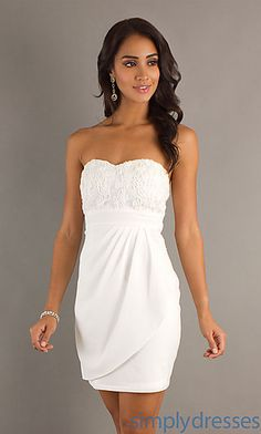 Short Strapless Semi Formal Dress- great reception or bachelorette party dress!!