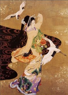 Buy inspirational Feng Shui vertical wall art painting Dance of the Cranes by Haruyo Morita, which is available for sale in our portrait paintings collection. This positive energy ready-to-hang stretc Feng Shui Wall Art, Feng Shui Paintings, Art Chinois, Art Asiatique, Thinking Day, Japanese Painting, Art Graphique, Japanese Prints, Art History