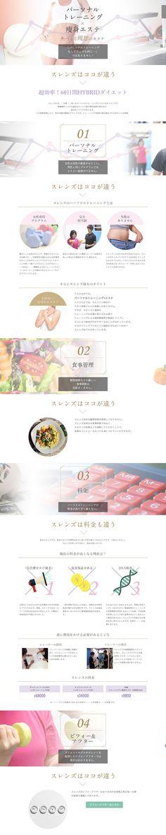 SLENDSパーソナルトレーニング×エステ【スキンケア・美容商品関連】のLPデザイン。WEBデザイナーさん必見!ランディングページのデザイン参考に(キレイ系) Web Design, Web Layout, Menu, Lady, Sports, Beauty, Menu Board Design, Hs Sports, Design Web