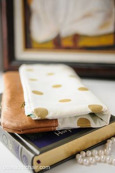 Polka Dot & Leather Fold Over Clutch Sewing Tutorial on polkadotchair.com maybe with denim or wax coated canvas?