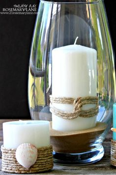 Make Your Own Pottery Barn Inspired Nautical Candles