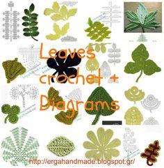 ergahandmade: Leaves crochet + Diagrams + Video