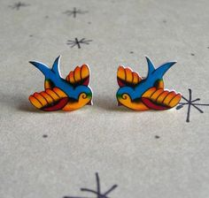 Chubby Lil Swallow Tattoo Earrings by theringleader on Etsy, $9.95