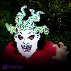 Wanna make your own Halloween mask? Check out this Medusa greek mythology paper mask for kids to print, color, cut, wear, & SCARE! INSTANT DOWNLOAD PDF. DIY halloween costume. ZINGGIA!