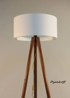 Handmade Tripod Floor lamp with wooden stand and by DyankoffShop