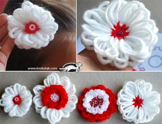 Template FLOWERS made with yarn. Wonder how they would look with fuzzy fiber yarn. Yarn Flowers, Diy Flowers, Crochet Flowers, Paper Flowers, White Flowers, Flower Tutorial, Diy Tutorial, Yarn Crafts, Crafts For Kids