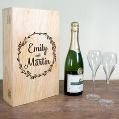 Check this out!! The Kitchen Gift Company have some great deals on Kitchen Gadgets & Gifts Personalised Double Wooden Wine Box - Wreath Design #kitchengiftco