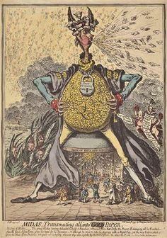 Artwork by James Gillray, Midas, Transmuting all, into Paper, Made of etching with hand colouring