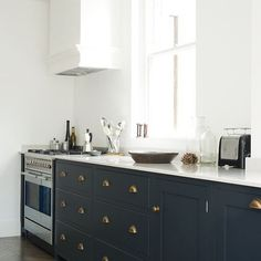 """""""A firm favourite of ours- 'Pantry Blue' cabinets with 'Bella Brass' cup handles #deVOLKitchens"""" Photo taken by @devolkitchens on Instagram, pinned via the InstaPin iOS App! http://www.instapinapp.com (08/11/2015)"""