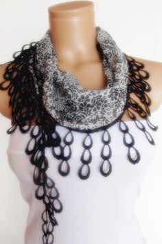 2012 summer fashion scarf with lace black grey by smilingpoet, $12.90