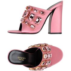 Gucci Sandals ($600) ❤ liked on Polyvore featuring shoes, sandals, pastel pink, round cap, pastel pink shoes, pink rhinestone shoes, pink shoes and gucci shoes