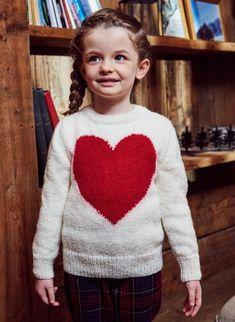 Pull motif cœur : Angel 50 et Halo, côtes 1/1 et jersey endroit aux aiguilles n° 3 et 3,5 - Bergère de France