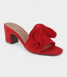 0341e2d8eb5c Women s Ruffle Heeled Slide Sandals - Who What Wear Cherry (Red) 6