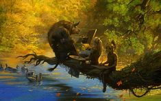 forest creatures | ... creatures animals rivers trees forest landscapes humor funny wallpaper