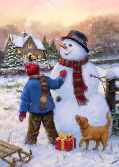 Leading Illustration & Publishing Agency based in London, New York & Marbella. Christmas Scenes, Christmas Past, Christmas Snowman, All Things Christmas, Christmas Cards, I Love Winter, Vintage Winter, Christmas Pictures, Pretty Pictures