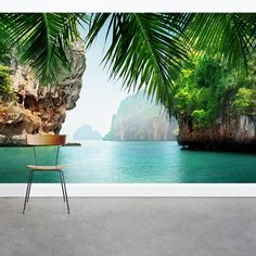 60 Best Ideas Of Tropical Wall Mural For Summer. Popular tropical wall murals create the illusion of paradise in your home. They can bring sunshine and warmth into a room with . Painted Window Frames, Book A Hotel Room, Best Vacation Destinations, 3d Wall Murals, Mural Painting, In The Tree, 3d Wallpaper, Decoration, Tropical