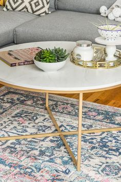 This 117 Marble Coffee Table Is the Most Expensive-Looking Piece in My Living Room Coffee Table Decor Living Room, Decorating Coffee Tables, Coffee Table Design, Living Room Furniture, Living Room Decor, Living Room Tables, Living Room Modern, My Living Room, Living Room Designs