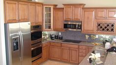 Small Kitchen Idea  Love the color of wood and Counters