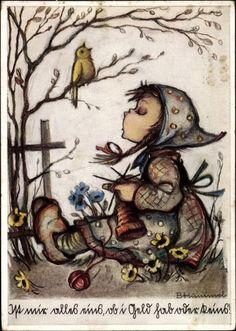 Artist Postcard Hummel, Ist mir alles eins, ob i Geld hab oder keins, Strickendes Mädchen, Nr. 4948