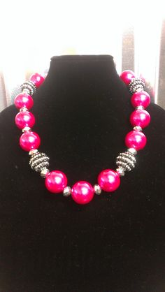 Hot Pink Pearl Necklace W/ Rhinesone Bead Balls