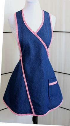 Fun Flirty Blue Denim Apron with red and white trim. The Clara Apron with one double lined pocket by on Etsy White Trim, Red And White, Jean Apron, Long Ties, Denim Outfit, Dress Patterns, Apron Sewing Patterns, Blue Denim, Going Out