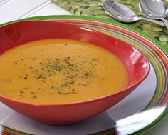 Healthy Carrot Soup, my cousin's famous carrot soup recipe, creamy even though it's made with skim milk, not cream. WW2. Low Carb. Rave reviews!