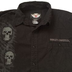 Harley-Davidson Button Up Shirt XL Black Skulls Long Sleeves 2008 #HarleyDavidson #ButtonFront