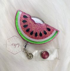 Excited to share this item from my #etsy shop: Watermelon badge reel/gift for her/glitter badge reel Glitter Tumblr, Badge Reel, Watermelon, Gifts For Her, Crochet Earrings, Shapes, Etsy Shop, Jewelry, Business