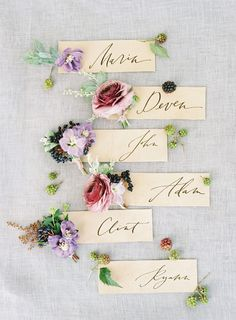 Engraved Escort Cards with Dusty Purple and Mauve Flowers