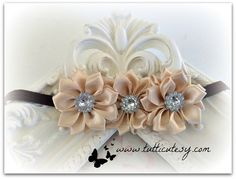 Beige and Brown Flower Headband by tutticutesytutus on Etsy