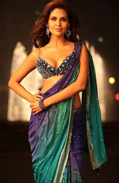 Esha Gupta looks hot and sexy in this three shade designer saree, and paired with a heavy embroidery crystal studded blouse. Bollywood Actress Hot, Bollywood Fashion, Beautiful Saree, Beautiful Indian Actress, Indian Dresses, Indian Outfits, Paisley, Miss India, Indian Attire