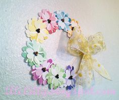Spring Flower Wreath from Paint Chip Samples diy ... http://www.alililyblog.com/2011/05/spring-flower-wreath-from-paint-chip-samples.html