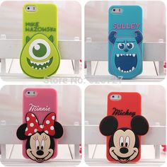 3D Cartoon Rubber Silicone Case For iphone 5 5s SE Mike Sulley Mickey Minnie Mouse Phone Cases Cover for iphone 5 5s SE 4 4s
