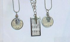 Necklaces made from vintage hymnal pages