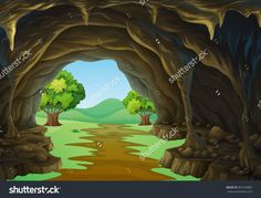 Nature Scene Of Cave And Trail Illustration - 367533887 : Shutterstock