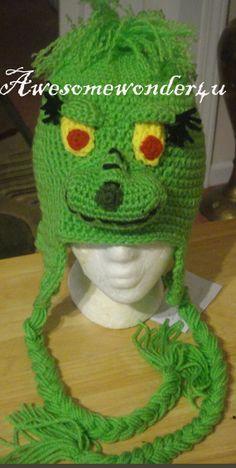 Grinch Crocheted Hat by awesomewonder4u on Etsy, $25.00