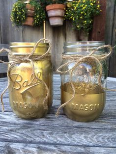 Solid Gold Mason Jar set of 2 pint sized by TwineandDandy on Etsy