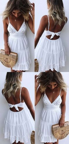 bdba7b6e899e A-Line Spaghetti Straps Backless White Homecoming Dress with Lace from Hot  Lady