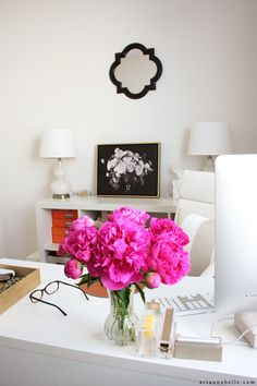 Love the white-on-white and modern flair for Arianna Belle's home office