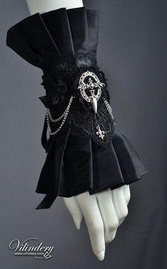 Items similar to Big Cuff with Bat Wings and Chain - Black Goth Victorian Bracelet, Lolita Vampire Style, Steam Fashion, Elegant Wedding Jewelry, Accessories on Etsy Goth Jewelry, Fantasy Jewelry, Fashion Jewelry, Jewelry Logo, Jewelry Holder, Jewelry Bracelets, Gothic Jewellery, Dainty Jewelry, Resin Jewelry